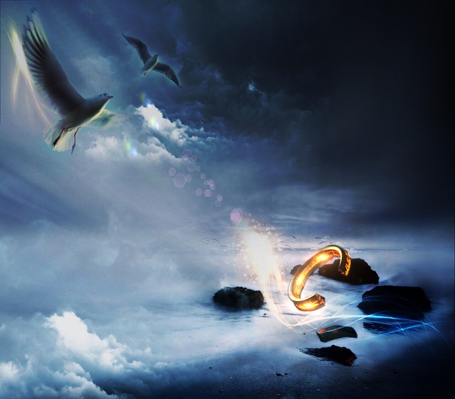 magic, doves, sky, ring